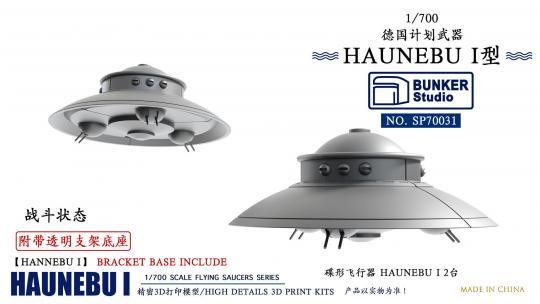 1/700 German Flying Saucers HAUNEBU I (Combat Form with Transparent Bracket Base)