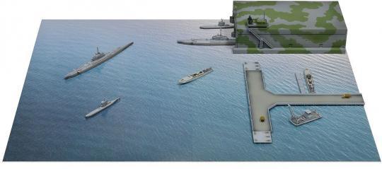 1/700 WWII German Navy U-Boat / S-Boat Sortie Base
