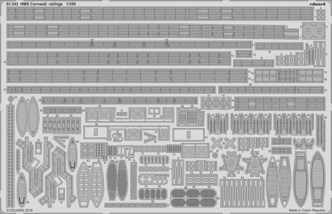HMS Cornwall railings 1/350 (for Trumpeter)
