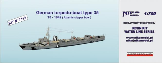 German Torpedo-Boat Type 35 T8 1942 (Atlantic clipper bow)