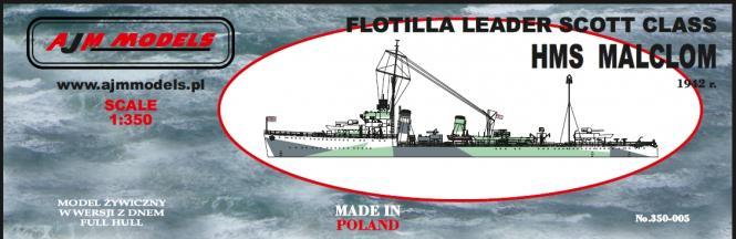 HMS Malcolm Flottilla Leader Scott Class 1942