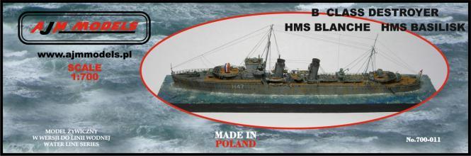 British Destroyer B-Class HMS Blanche or HMS Basilisk