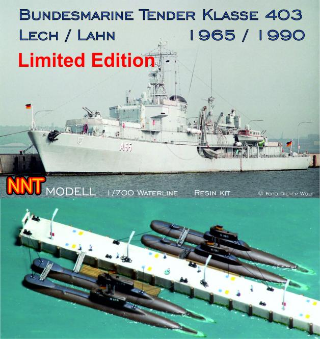 Set Bundesmarine Tender Klasse 403 Lech / Lahn plus Submarines Type 205mod / 206A Limited Offer