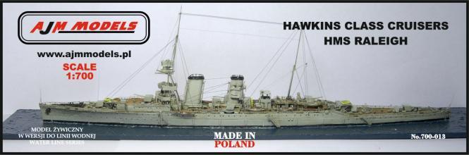 British heavy cruiser HMS Raleigh Hawkins-Class