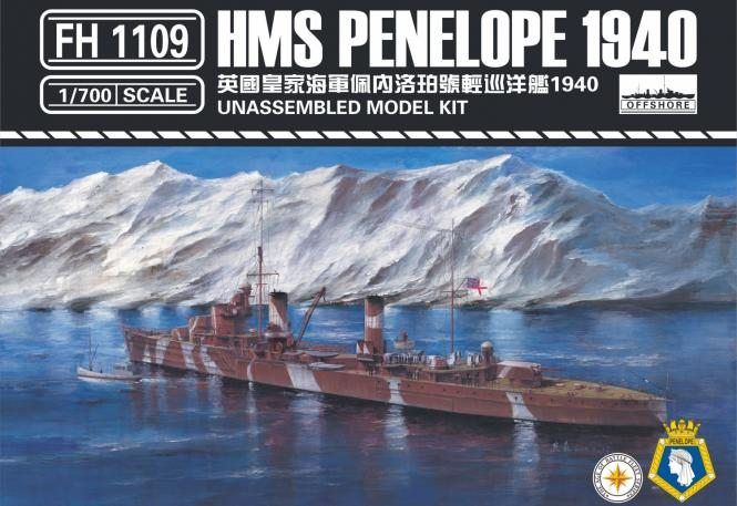 HMS Penelope Light Cruiser 1940 waterline