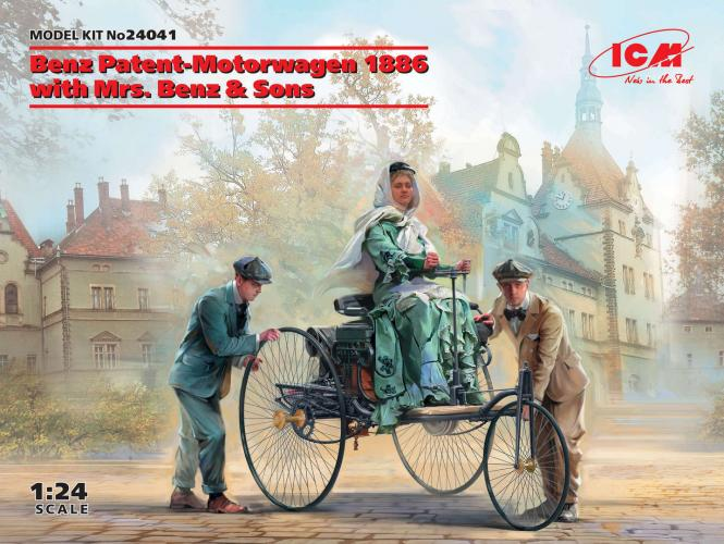 Benz Patent-Motorwagen 1886 with Mrs. Benz & Sons