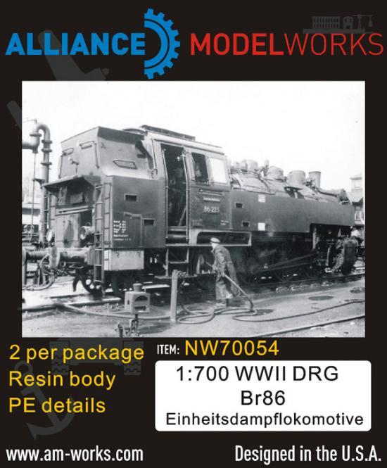WWII German DRG Br86 Einheitsdampflokomotive (x2)