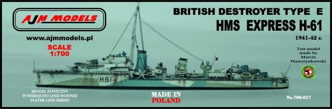 British destroyer Type E HMS Express H-61 1941-42