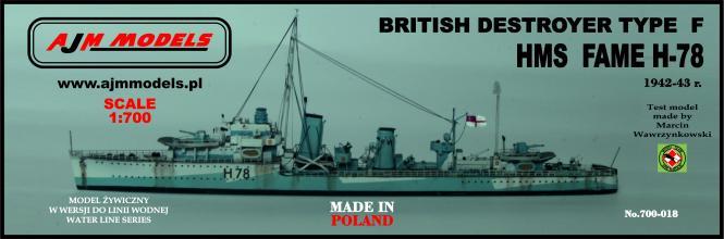 British destroyer Type F HMS Fame H-78 1942-43